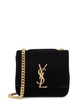 Vicky Small Velvet Cross Body Bag by Saint Laurent