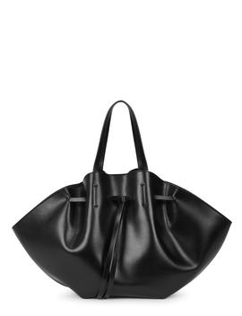 Lynne Black Leather Tote by Nanushka