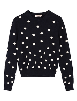 Navy Embellished Cotton Blend Jumper by Tory Burch