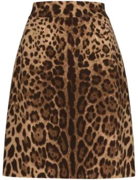 Jupe Trapèze à Motif Léopard by Dolce & Gabbana