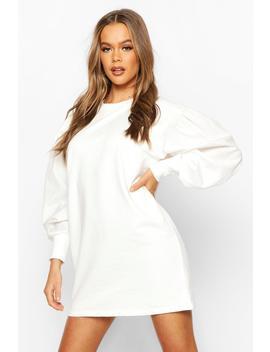 Oversized Puff Sleeve Sweatshirt Dress by Boohoo