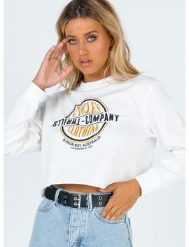 Thrills Cycles & Clothing Merch Crop Ls Dirty White by Thrills