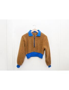 Sherpa Nutmeg & Royal Blue Cropped Fleece Sweater Xs S M L Xl 2 Xl 3 Xl by Etsy