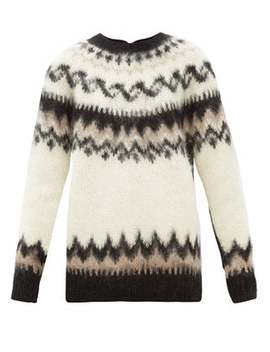 Reversed Fair Isle Wool Blend Cardigan by Junya Watanabe