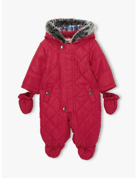 John Lewis & Partners Baby Quilted Snowsuit, Red, Red by John Lewis & Partners