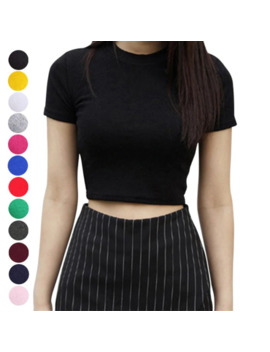 Women Summer T Shirts Short Sleeves Round Neck Slim Fit Casual Pullover Crop Tops Nyz Shop by Ali Express.Com