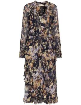 Midnight Wisteria Floral Print Midi Dress by Zimmermann