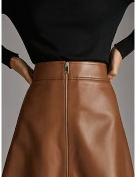 Short Nappa Zipped Skirt by Massimo Dutti