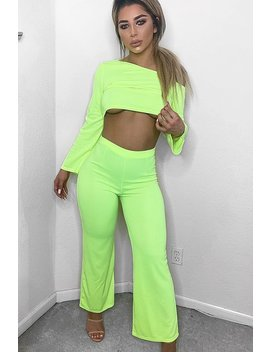 Neon Yellow Off Shoulder Loungewear Set   Emarie by Rebellious Fashion