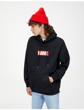 Siyah Marvel Logolu Kapüşonlu Sweatshirt by Pull & Bear