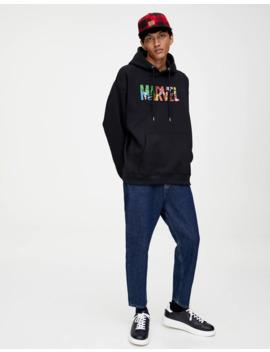 Siyah Marvel Kapüşonlu Sweatshirt by Pull & Bear