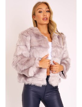 Light Grey Faux Fur Jacket   Estelle by Rebellious Fashion