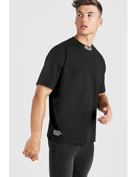 Gothic Man Oversized Extended Neck T Shirt by Boohoo