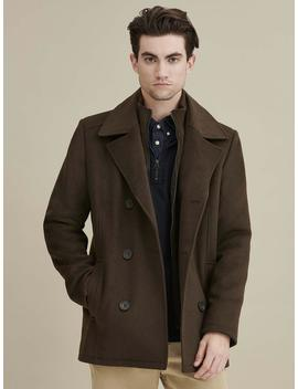 Knit Inset Wool Peacoat by Wilsons Leather
