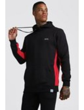 Man Active Longline Hoodie With Panels by Boohoo Man