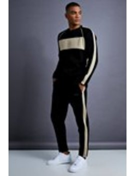 Man Skinny Fit Sweater Panelled Tracksuit by Boohoo Man