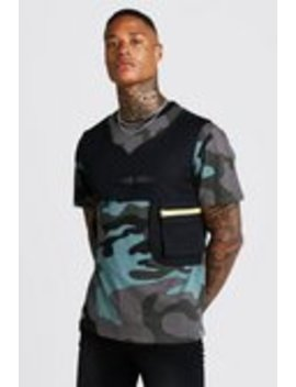 Camo Tee With Utility Vest by Boohoo Man