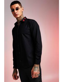 Long Sleeve Shirt With Star Embroidered Collar by Boohoo