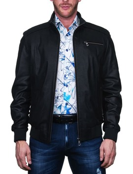 Textured Leather Jacket by Maceoo