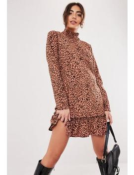 Brown Leopard Print Ruffle Hem Smock Dress by Missguided