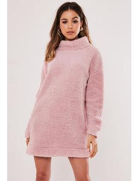 Pink Borg Teddy High Neck Sweater Dress by Missguided