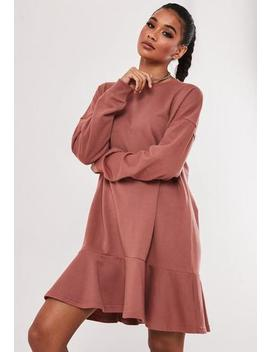 Terracotta Frill Hem Sweater Dress by Missguided