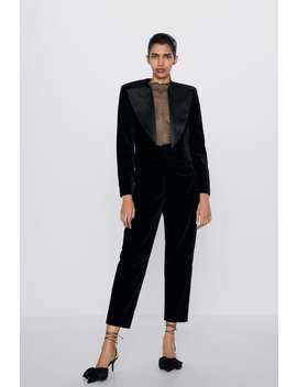 Velvet Trousers With Gathering by Zara