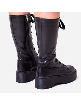 Tribeca Knee High Lace Up Ankle Biker Boot In Black Faux Leather by Ego