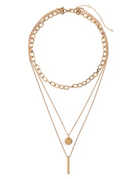 Plate, Disc & Chain Layered Necklace by Bp.