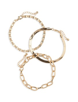 Set Of 3 Mixed Chain Bracelets by Bp.