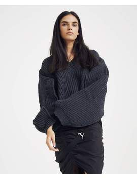 Ribbed V Neck Sweater   Charcoal by Maison Margiela