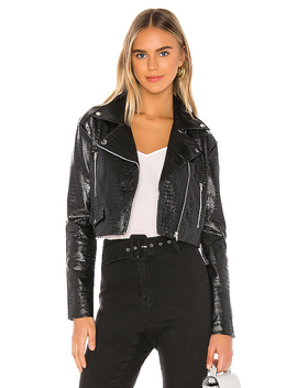 Colette Cropped Moto Jacket In Black by Superdown