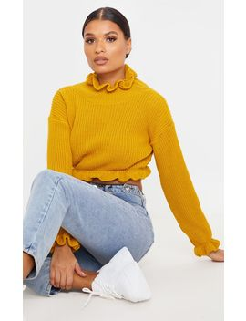 Mustard Knit High Neck Ruffle Trim Crop Jumper by Prettylittlething