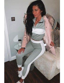 Light Pink Fur Trim Adjustable Waist Puffer Coat   Rossie by Rebellious Fashion