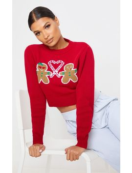 Red Gingerbread Crop Christmas Jumper by Prettylittlething