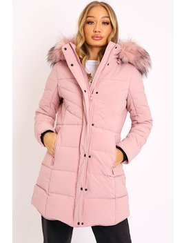 Pink Adjustable Back Long Puffer Coat   Maezie by Rebellious Fashion
