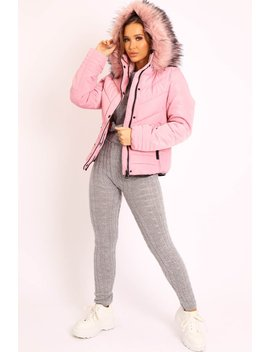 Pink Fur Trim Quilted Puffer Coat   Lania by Rebellious Fashion