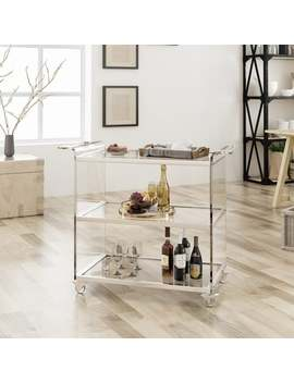 Yves Bar Trolley With Glass Shelves By Christopher Knight Home by Christopher Knight Home