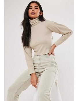 Recycled Petite Beige Roll Neck Crop Top by Missguided