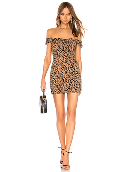Darcy Mini Dress In Tan Leopard by Majorelle