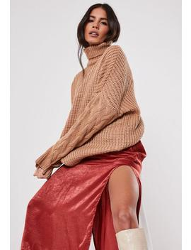 Camel Roll Neck Cable Knit Sleeve Jumper by Missguided