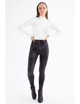 Black Lattice Front Faux Leather Leggings by Select