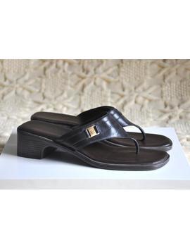 Vintage Etienne Aigner Black Slide Sandals, Low Heel Slides, Thong Slides, Summer Shoes, Open Toe Leather Sandals, 6.5 Us, Made In Brazil by Etsy