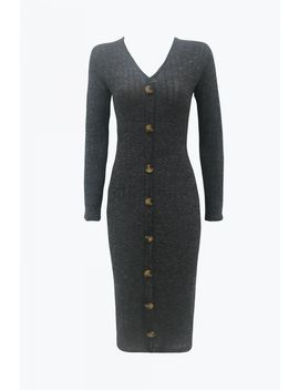 Grey Cut & Sew Button Bodycon Dress by Select