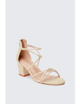 Nude Knot Tie Block Heel Sandals by Select