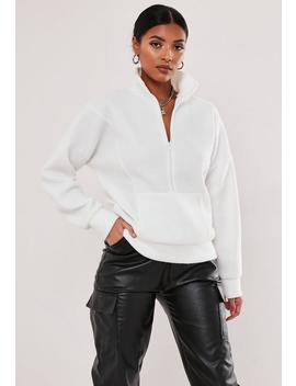White Fleece High Neck Sweatshirt by Missguided