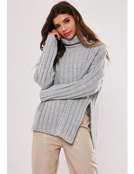 Grey Extreme Rib Roll Neck Side Split Jumper by Missguided