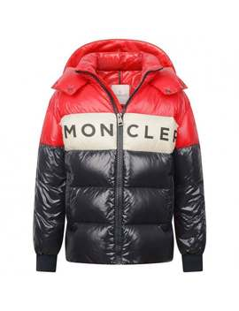 Boys Red & Navy Down Febrege Coat by Moncler