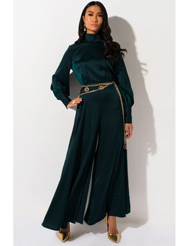 Dont Call Me Up Long Sleeve Wide Leg Jumpsuit by Akira