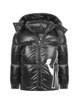 Boys Black Down Padded Friesian Coat by Moncler